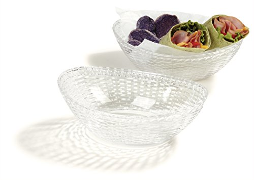 "Carlisle WB96507 Oval Wicker Basket, 9-7/16"", 6-5/8"", 2-31/32"", 2.98""Height, 6.64""Width, 9.43""Length, Polycarbonate (PC) Clear (Pack of 6)"