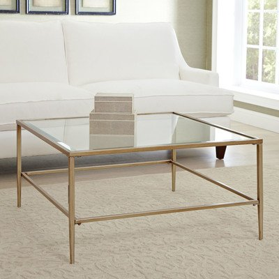 Square Glass Coffee Table with Gold Finish