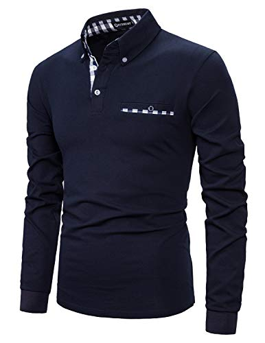 YCUEUST Coton Lattice Collier Homme Manche Longue Polo Casual Basic Tennis Golf Poloshirt Bleu XL