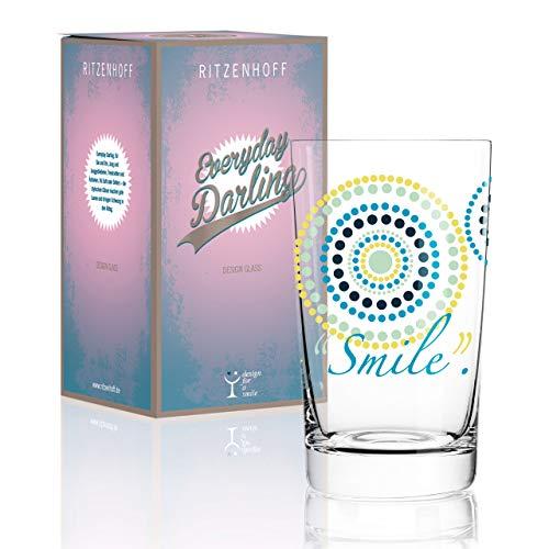RITZENHOFF Everyday Darling Softdrinkglas von Sandra Brandhofer, aus Kristallglas, 300 ml, mit trendigen Dekoren