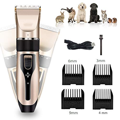 WXCC Dog Grooming Clippers for Pets Cat Hair Trimmer Kit Best Cordless Animal Scissors Low Noise Cutter Head RechargeableLawn Mower Professional ShaverSet with 4 Comb