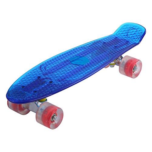 Maronad transparent Retro Skateboard LED klarer leuchtrollen ABEC 7 (Blau)