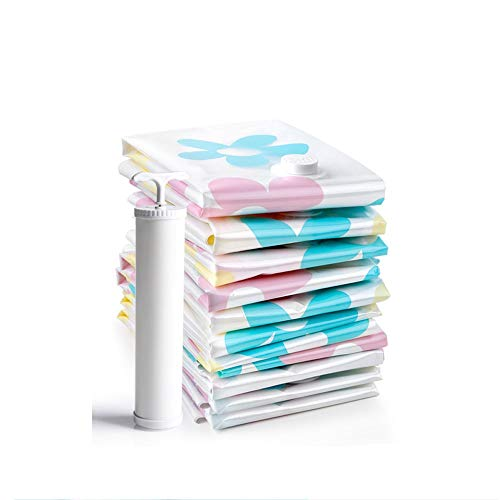 LDH Bolsa de almacenamiento de bolsa de compresión vacío bolsa de clasificación de gran bombeo de la ropa colcha edredón bolsa de ropa de envases domésticos, con bomba manual, 6 piezas, Tamaño: (100 *