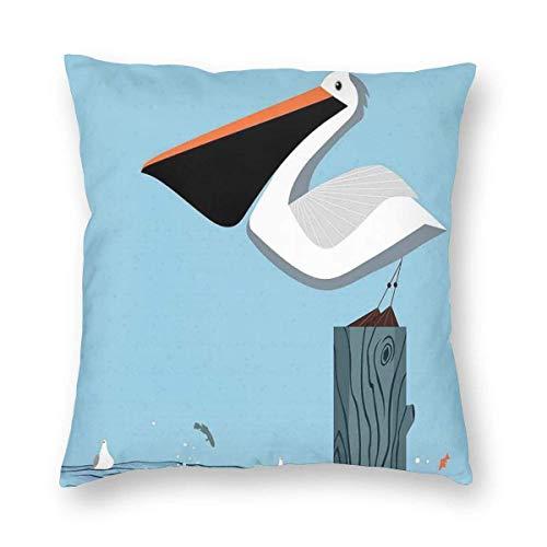 Fundas de almohada Pelican soportes en una columna de madera en el mar saltando peces sobre fondo azul cielo funda de cojín decorativa decoración del hogar sofá almohada 20 x 20 pulgadas