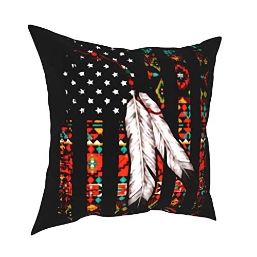 Yzn Throw Pillow Covers, Native American Resuable Cushion Cover Set -Hidden Zipper -Hypoallergenic- Wrinkle Resistant for Sofa Bed,18 X 18 Inches