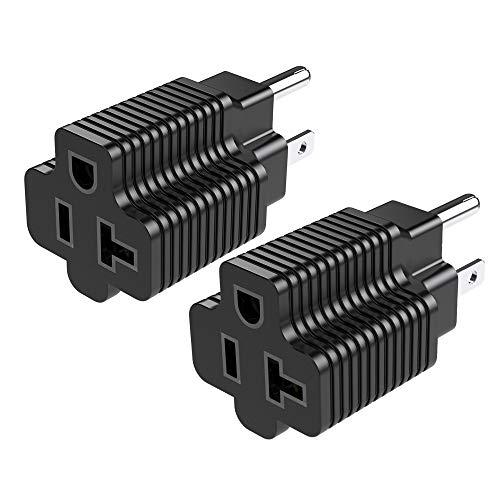 JACKYLED ETL Listed 15 Amp Household Plug to 20 Amp T-Blade NEMA Plug Adapter, 3 in 1 AC Power Converter, NEMA 5-15P to 1-15R, 5-15P to 5-15R, 5-15P to 5-20R, 15A 125V to 20A 125V, 2 Pack, Black