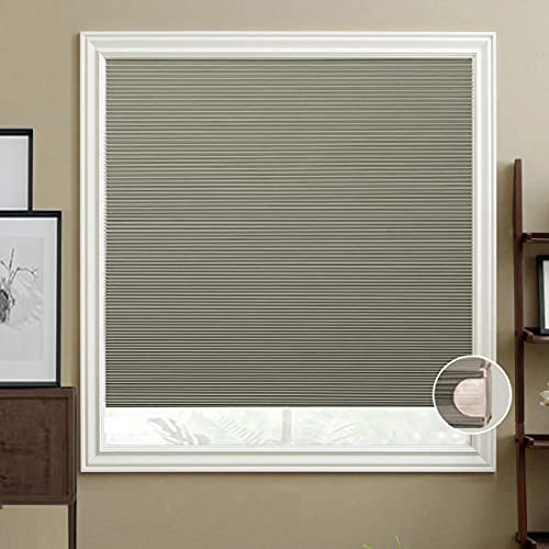 HIHIYO Cellular Shades Honeycomb Blinds Blackout Cordless, Trim-at-Home, No Tools Installation, Room Darkening Home Window Blinds for Bedroom, Office,...
