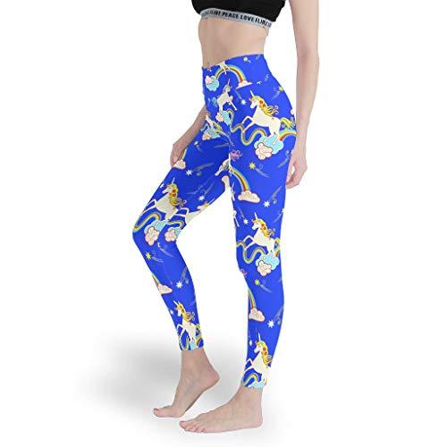 Dofeely - Pantalones largos de yoga para mujer, pantalones de yoga, pantalones pirata seguros y cómodos, con impresión de unicornio, talla Plus blanco M