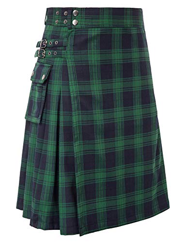 Scottish Mens Kilt Traditional Highland Tartan Utility Kilt Black Watch L