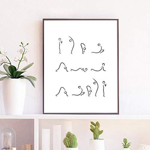 TeriliziDruckt Wohnkultur Leinwand Einfache Malerei Sonnengruß Haltung Yoga Haltung Modulare Wandkunst Für Wohnzimmer Rahmen Poster-50X70Cm Kein Rahmen