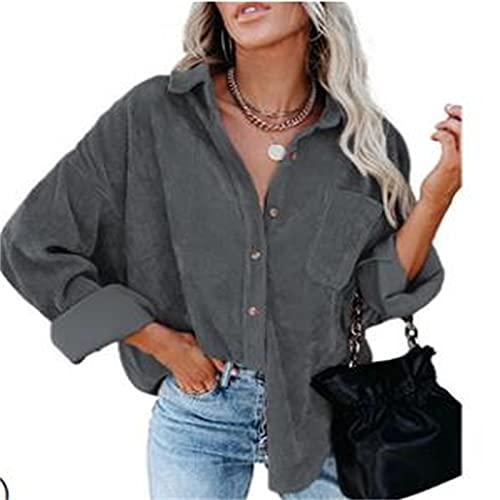 RICHBA Camisa de pana de manga larga con botones y bolsillos para mujer, gris, M
