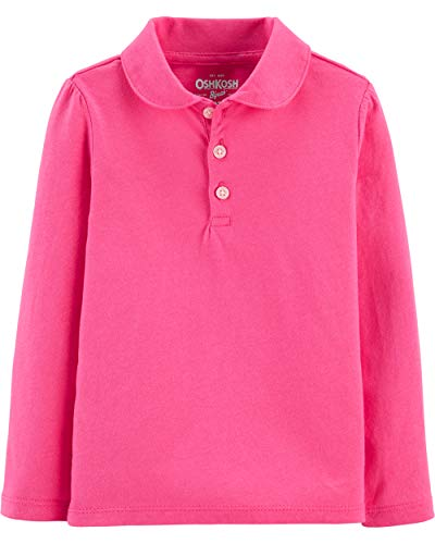 Osh Kosh Girls' Toddler Long Sleeve Uniform Polo Shirt, Dyanna Pink, 5T