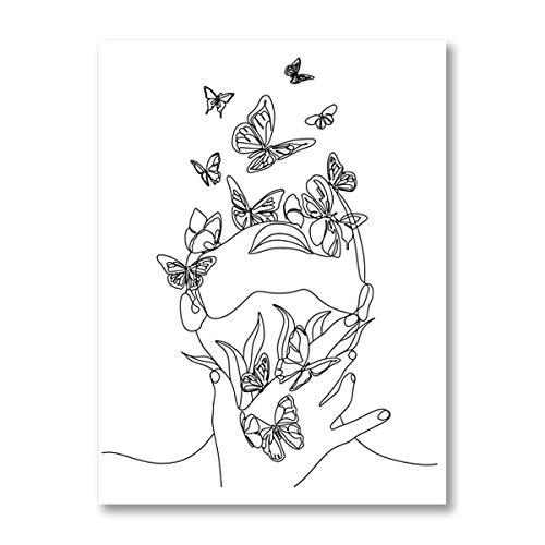 Schwarze und weiße weibliche abstrakte Strichgrafiken drucken Frau mit Schmetterling Strichzeichnung Poster Leinwand Malerei Schlafzimmer Wandkunst rahmenlose dekorative Leinwand Malerei H81 30x40cm