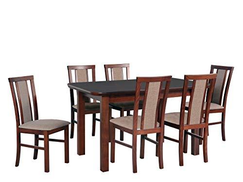Mirjan24 Esstisch mit 6 Stühlen DM48, Sitzgruppe, Küchentisch, Esstischgruppe, Esszimmer Set, Esstisch Stuhlset, Esszimmergarnitur, DMXZ (Nuss/Nuss Inari 23)