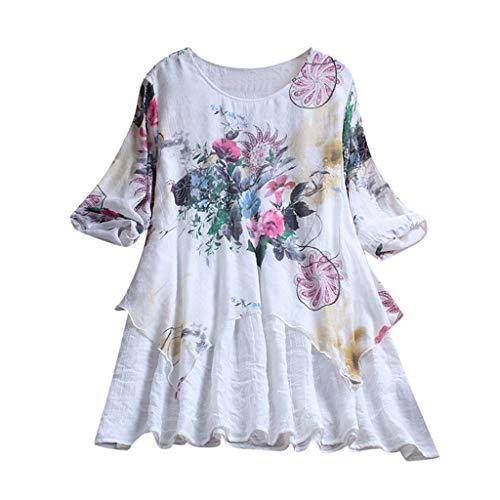 MRULIC Damen Fledermaus Hemd Lässig locker Top Dünnschnitt Bluse T-Shirt(T-Weiß,EU-50/CN-5XL)