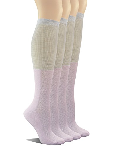 Yomandamor Women's 4 Pairs Bamboo Non-binding Knee-Hi Boot Socks with Seamless Toe
