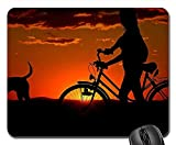 Yanteng Alfombrillas para ratón - Mujer Chica Bicicleta Paseo al Atardecer Abendstimmung Perro