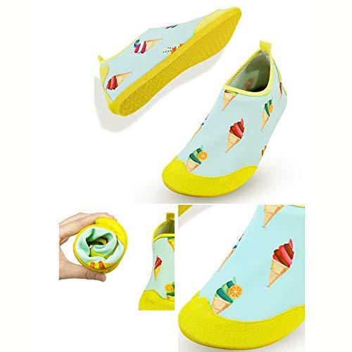 CSLOKTY Chaussures d'eau en Plein Air Chaussettes Pieds Nus Chaussures De Bain De La Peau pour La Plage Courir Plongée en Apnée Surf Plongée Exercice Yoga Adapté pour Les Adultes Enfants Children-L