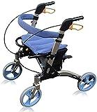 Andadores para discapacidad Andador para Ancianos Ajustable de 4 Ruedas del balanceo Walker con Asiento de Peso Ligero Silla de Transporte Ayuda a la Movilidad for el Adulto