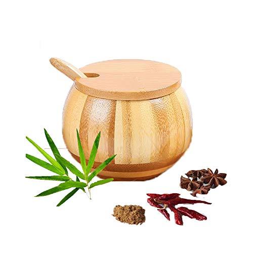 Tiamu Azucarero de bambú, Cocina de Bambú Caja, Azucareros con Tapa y Cuchara, Caja De Sal, Tarros para condimentos como azúcar, sal, especias