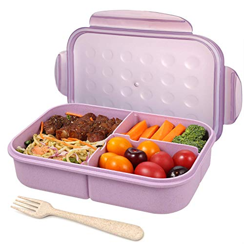 Bento Box for Adults Lunch Containers for Kids 3 Compartment Lunch Box Food...