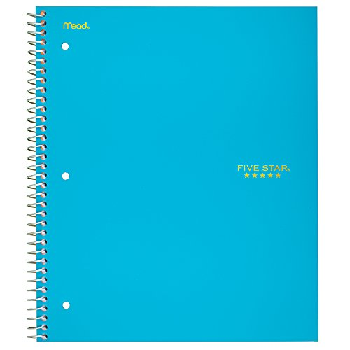 "Five Star Spiral Notebook, 5 Subject, College Ruled Paper, 200 Sheets, 11"" x 8-1/2"", Teal (72458)"
