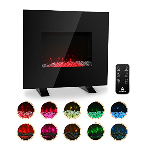 Sunday Living 26 Inch Electric Fireplace, 1500W Glass Fireplace Heater, Wall Mounted or Freestanding, 10 Flame Color, Log Set and Crystal, Remote Control, 12-H Timer, Low Noise, WFP-26