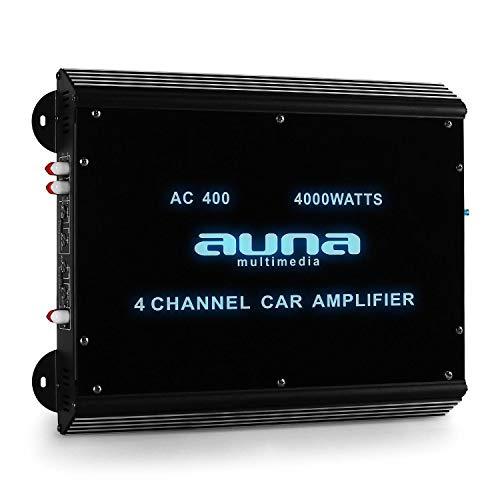 auna W2-AC400-4Kanal Auto-Endstufe, Car Verstärker, 360 Watt RMS bis zu 4000 Watt max, 20Hz-20kHz Frequenzbereich, brückbar - Möglichkeit zum 3-,2- und 1-Kanal-Betrieb, Tiefpass-Filter, schwarz
