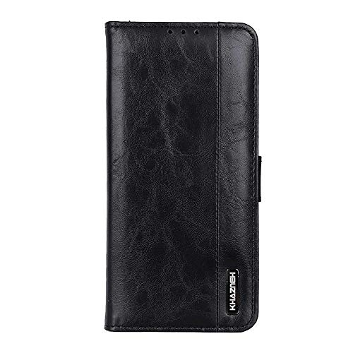 Leather Cover Compatible with Samsung Galaxy A50, Black Wallet Case for Samsung Galaxy A50
