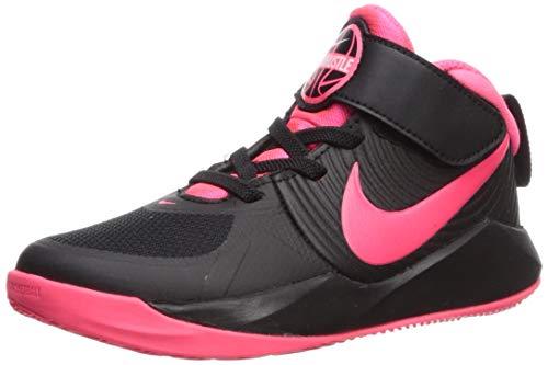 Nike Unisex-Kid's Team Hustle D 9 (PS) Sneaker, Black/Racer Pink - White, 3Y Regular US Little Kid