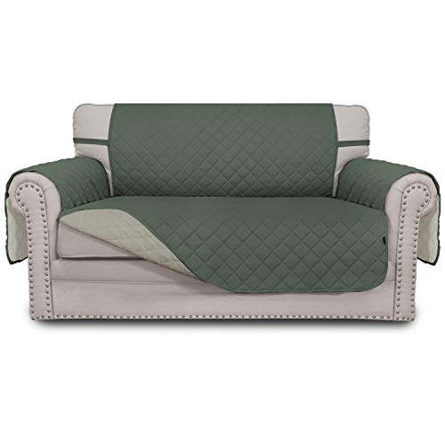 Easy-Going Sofa Slipcover Reversible Loveseat Cover Water Resistant Couch Cover Furniture Protector with Elastic Straps for Pets Kids Children Dog Cat(Loveseat,Greyish Green/Beige)