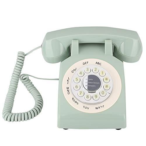 Weikeya Teléfono de casa retro, teléfono fijo, número de apoyo de teléfono fijo, aspecto retro, teléfono inalámbrico extensible de ABS (verde)