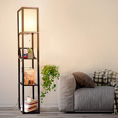 Albrillo Holzregal Stehlampe - E27 Stehleuchte mit 2 USB Ladeanschlüssen, Max. 60W Birne und Draht Clip, 160cm Retro Standlampe mit H39cm Jedes Regal, Holz Schwarz, für Wohnzimmer Schlafzimmer