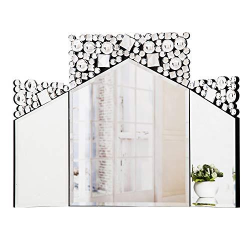 RICHTOP Espejo de tocador Espejo de tocador Grande, tríptico Grande para Dormitorio y vestidor, Joya de Cristal Brillante, Bordes biselados 78CM X 54CM