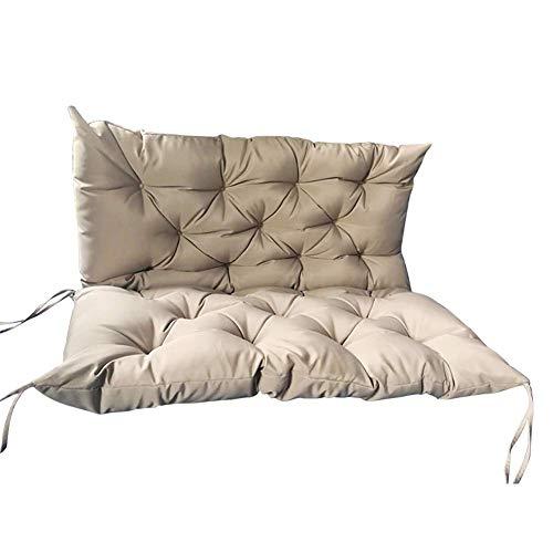 ZYX Cojín de banco de jardín al aire libre 2 sillas 3 asientos columpio asiento respaldo impermeable tumbona cojín para banco de madera lavable-beige-150x50x50cm