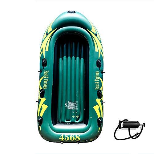 Tingeart Barco Inflable Kayak, Canoa Barco de Pesca Portátil Inflable En Bote Plegable De Goma Boat Bote de Goma Verde PVC Los 270cmx140cmx45cm