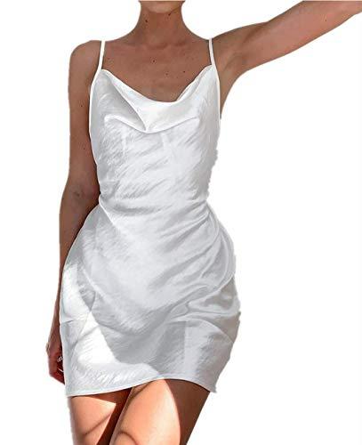 Mini vestido corto de mujer terciopelo con encaje estampado floral cuello en V sin mangas tirantes Cóctel Discoteca Chic Vintage Ins Slim Sexy Verano, Color blanco., M