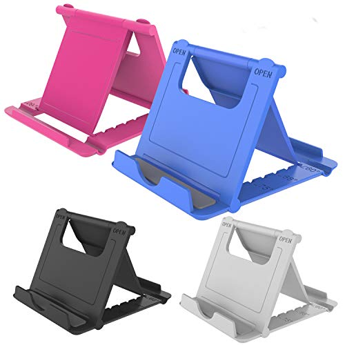 YENIE 4PACK Desktop Cell Phone Stand Holder, Portable Universal Desk Stand for All Mobile Smart Phone Tablet Display