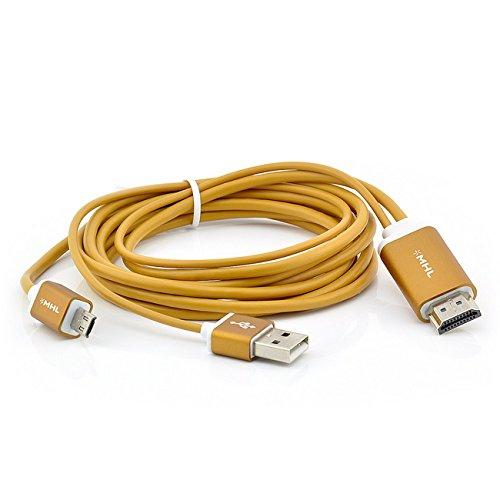 Saxonia, cavo adattatore MHL a HDMI per Samsung Galaxy smartphone, tablet (Micro USB 5/11pin) Full HD + trasmissione suono/colore, Gold, Samsung