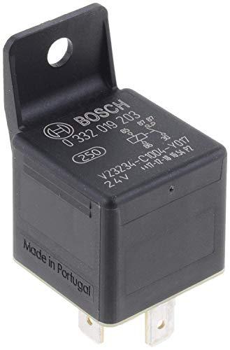 Bosch 0332019203 Mini relé de 24V 20A, 2x87, IP5K4, temperatura de funcionamiento de -40° a 100°C, relé de 5 pines con soporte de relé