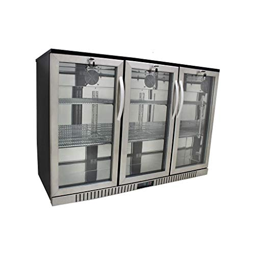 "Procool Refrigeration 3-door Glass Front Stainless Steel Back Bar Cooler; 54"" Wide, Counter Height Refrigerator"