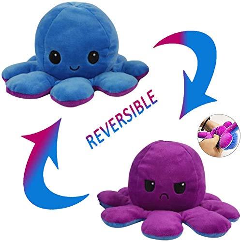 Reversible Octopus Soft Toys, doppelseitiges Flip Octopus Plüschtier, süßes Mini Octopus Kuscheltier Kreatives Spielzeug