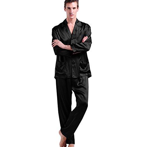 LILYSILK Men's Black Silk Long Pajamas Set Natural Soft 22 Momme Pure Mulberry Silk Sleepwear L
