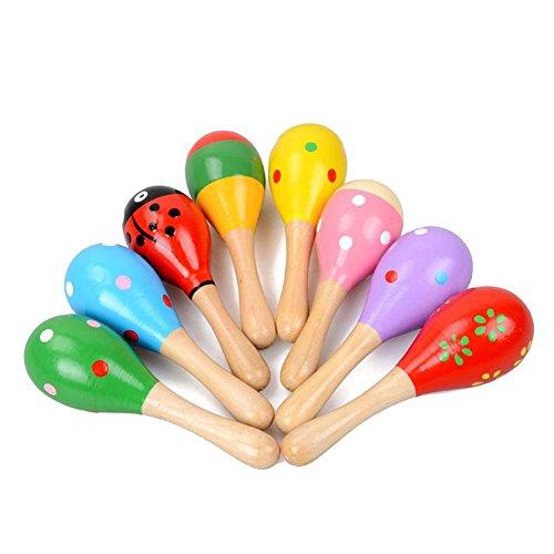 Westeng 2 Stücke Musikstrumente für 0-6 Jahre Kinder und Baby Bunt Sandhammer Holz Spielzeug Percussion Instrumente Pädagogisches Spielzeug (Zufällige Farbe)
