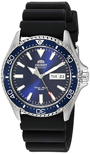 Orient Men's Kamasu Stainless Steel Japanese Automatic Diving Watch with Silicone Strap, Silver, 22 (Model: RA-AA0006L19A)