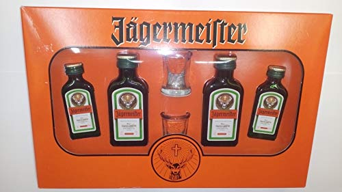 Cofre 4 mini Jägermeister 2 de 40 ml 2 de 20ml más 2 chupitos 35% Alcohol