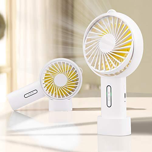iBazal Kleine handventilator draagbare mini-ventilator elektrische USB-ventilator persoonlijke reis bureaufan met 2400 mAh batterij compatibel met multi-poort voor reizen, thuis, kantoor S wit