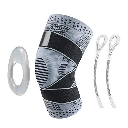 Wesho Profi-Kniebandage – [verbesserte Version] weich und atmungsaktiv – Universalmodell – Orthese für Knie, ideal für Crossfit, Volley, Basket, Fußball, Sport [Größe L]
