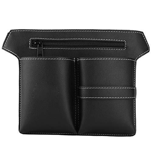 Riñonera de peluquería, cinturón móvil ajustable de cuero de PU, tijeras, bolsa de cuero para almacenamiento de herramientas de peluquería(Negro)