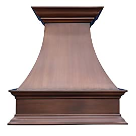"""SINDA Natural Beautiful Copper Kitchen Hood, Handcrafted by Skilled Artisan, Comes with High Air Flow Motor Fan, 48""""Wx42""""H Island Mount, Smooth-Natural Copper, H17SC-SNI4842 5 SIZE: Island Mount 48""""Wx42""""H.The width of an island mount copper range hood should be 3-6 inches wider than the cooktop. And the height range between your cooktop and the copper range hood should be from 30 to 36 inches. We suggest a height of 36 inches for an island mount. Custom sizes available upon request by email. Material: 16 gauge pure virgin copper. PATINA&TEXTURE: Smooth; Natural Copper. Want to touch a real finish? You may click on this link: https://www.amazon.com/dp/B07Q3FS4NQ. BASIC EQUIPMENT: Stainless Steel 304 Vent with Liner and Internal Motor, Reusable Baffle Filter, Grease Channel, Yellow LED lights(3W 12V) and 4-Speed Control; Powerful Airflow Fan: (30""""/36""""W: single motor, 610 CFM, 6"""" round duct; 42""""/48""""W: dual motors, 960CFM, 8"""" round duct); Ductless and remote blowers with In-line liner options available upon request by email;"""